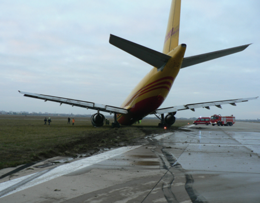 Nose landing gear failure after runway veer off (© BEA, 2013)