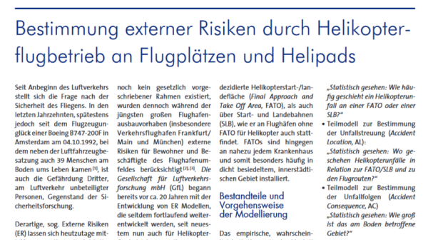 Determination of external risks through helicopter flight operations at airports and helipads