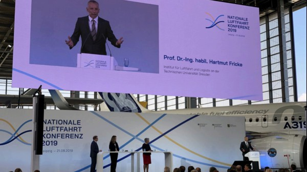 Professor Fricke gives speech at 1st National Aviation Conference at Leipzig Airport